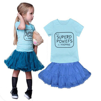Top Sale Baby Clothes Set For Baby Blue Girls T Shirts Skirt Suit Children Kids Fashion