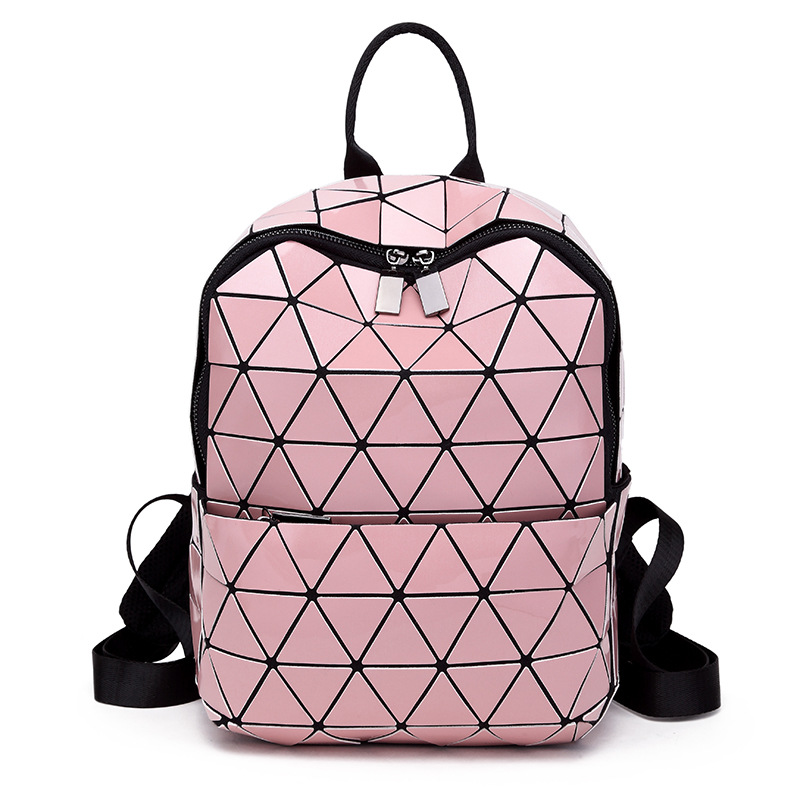 New Women Backpack Geometric Folding Bag Small Student's School Bags For Teenage Girls Hologram Daily Casual PU Backpacks 2018 women laser backpack geometric shoulder bag student s school bag luminous backpack laser sequins folding bags daily backpacks