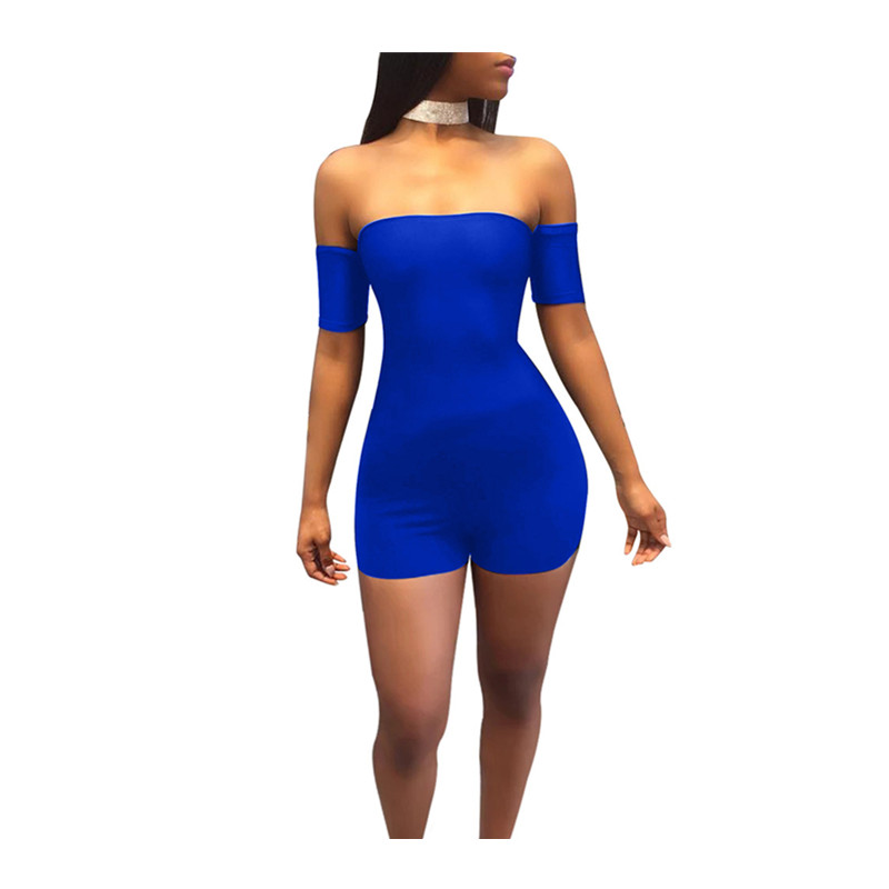 Women Rompers Large Size Jumpsuit Summer Short 3 Colors A Collar Sexy Backless Strapless Shorts Nightclub Party Clothing