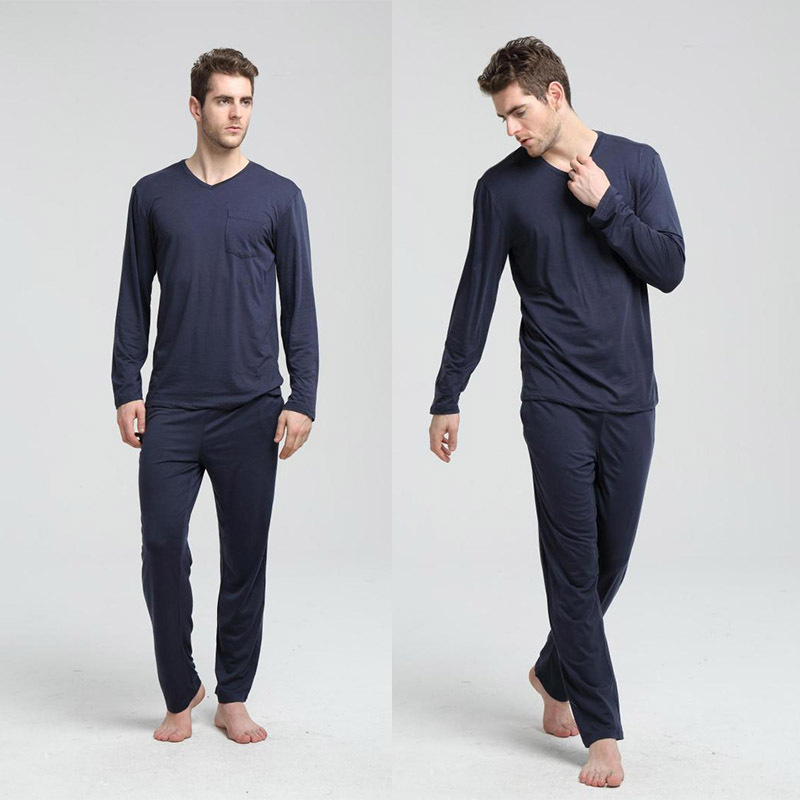 Pajamas-Set Homewear Men's Autumn Plus XL And Modal Trousers Spring Long-Sleeved-Tops