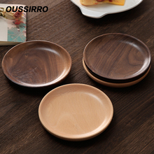 Tableware Dishes Cake-Tray Dessert Serving-Plates Wooden Kitchen Round Japanese Household