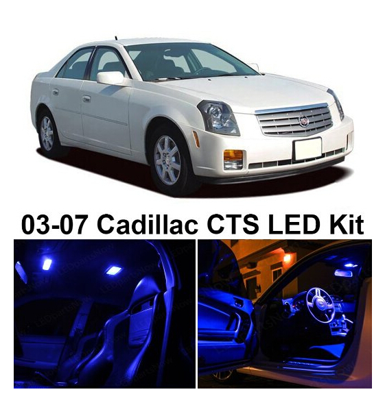 Free Shipping 5Pcs/Lot car-styling Xenon White Canbus Package Kit LED Interior Lights For Cadillac CTS 2003-2007