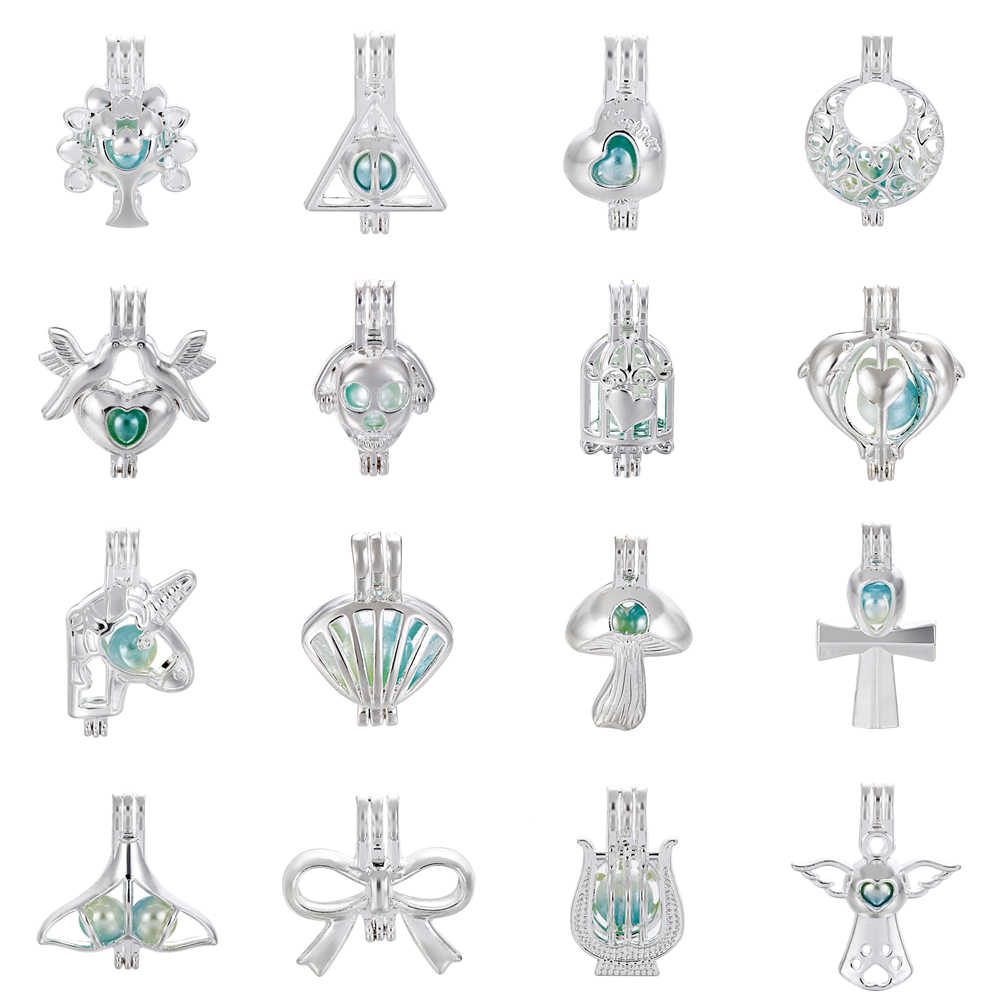 1pc Silver Dolphin Moon Tree of Life Bow Pearl Cage Bead Cage Essential Oil Diffuser จี้เครื่องประดับจี้ทำ oyster Pearl