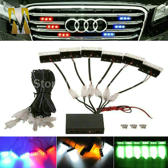 6x3 led 18LED motorcycle flash light Strobe Car Flash Warning EMS Police Truck Light Flashing Firemen Lights DC 12V For Grille цена и фото