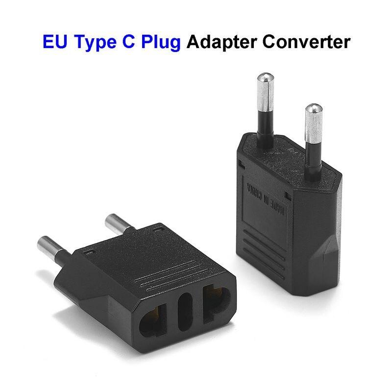 500pcs European Euro EU Plug Adapter 2 Pin US Brazil Italy To Europe German Travel Power Adapter Type C Plug Outlet Socket