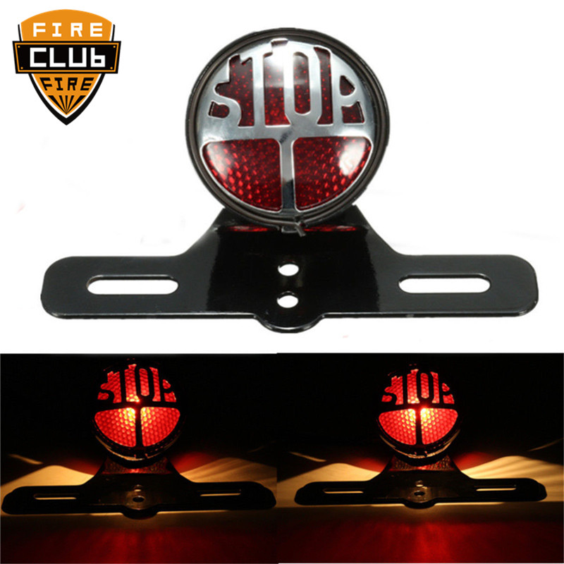Round Stop Vintage License Mount Tail Light Brake Light Lamp Motorcycle For Harley Bobber Chopper