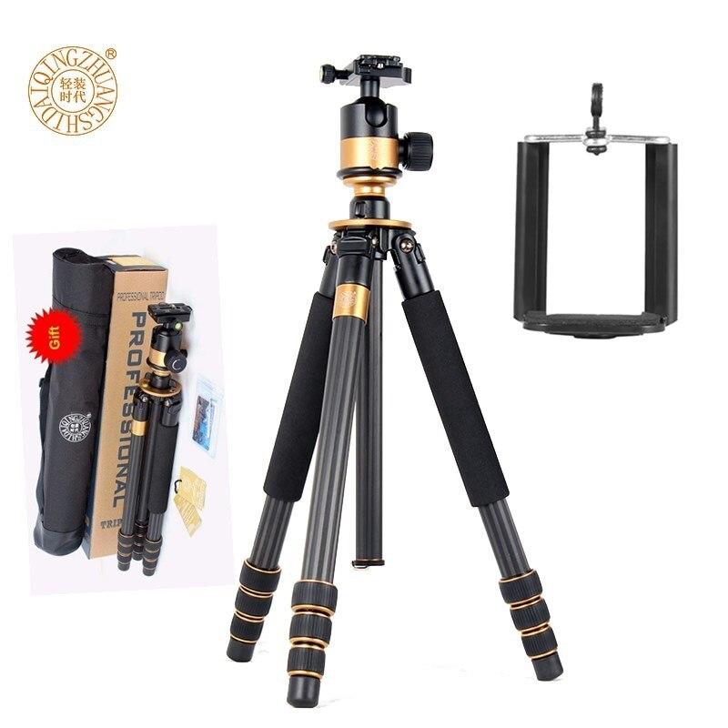 Original QZSD Q1000C Fiber de carbone 45mm grande tête de bal panoramique trépieds de voyage professionnel trépied pour téléphone caméra photographe