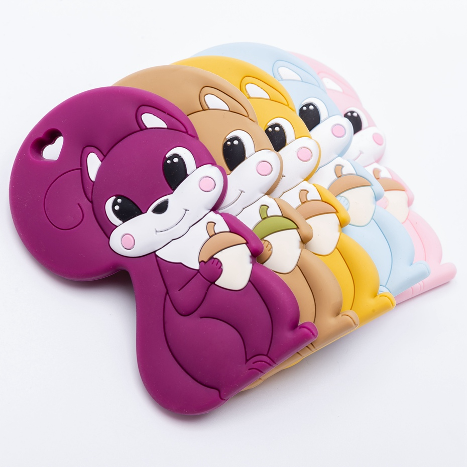 Silicone Tiny Rod Baby Teether Squirrel Safety Standard Teething Food Grade Silicone Rodent For Pacifier Silicone Peandant