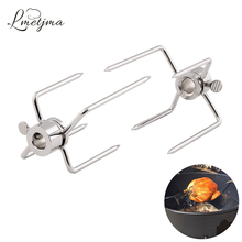 LMETJMA 2pcs/set Rotisserie BBQ Forks Stainless Steel Spit BBQ Forks Charcoal Chicken Grill Rotisserie Meat Fork BBQ Tool KC0149 free shipping stainless steel pig lamb goat charcoal bbq grill roaster rotisserie spit 110v 220v electric rotated motor