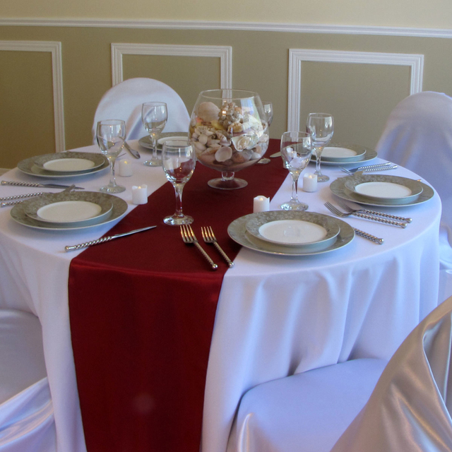 free shipping 5pcs 12 x 108 burgundy satin table runners wedding