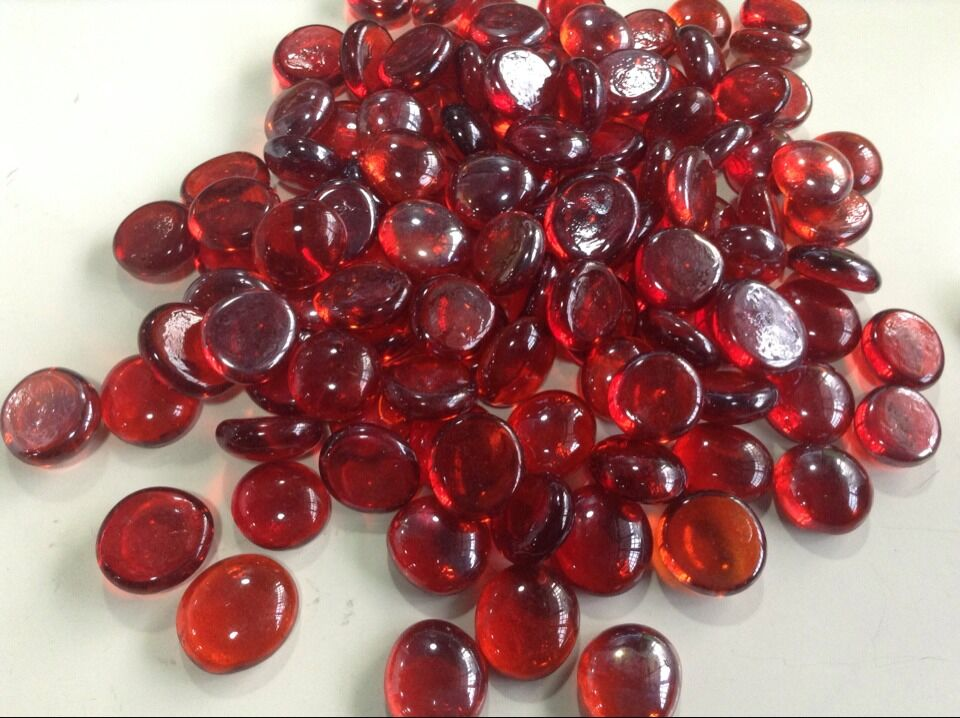 Wine Red Glass Stone Burgundy Color Maroon Flat Beads Loose Fish