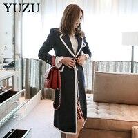 Winter Coat Dress Women Wool Elegant Long Blazer Coat Single Breasted Dark Blue Warm Cotton Padded