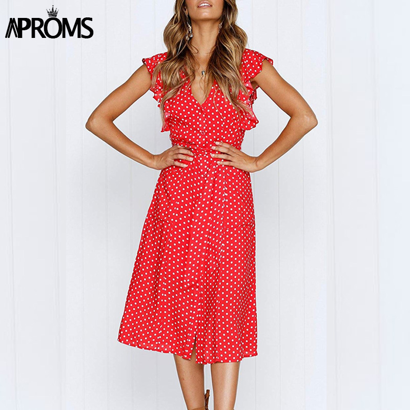 Aproms Boho Polka Dot Print Dress Women Casual Sleeveless V Neck Red Sundress Midi Dress female Beach A-line Dress Vestidos 2020 image