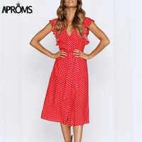 Aproms Boho Polka Dot Print Dress Women Casual Sleeveless V Neck Red Sundress Midi Dress female Beach A-line Dress Vestidos 2019