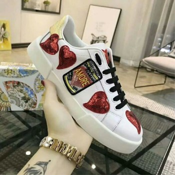 New fashion white shoes red stars leather shoes thick-soled shoes star white platform bottom casual shoes round head women's sho