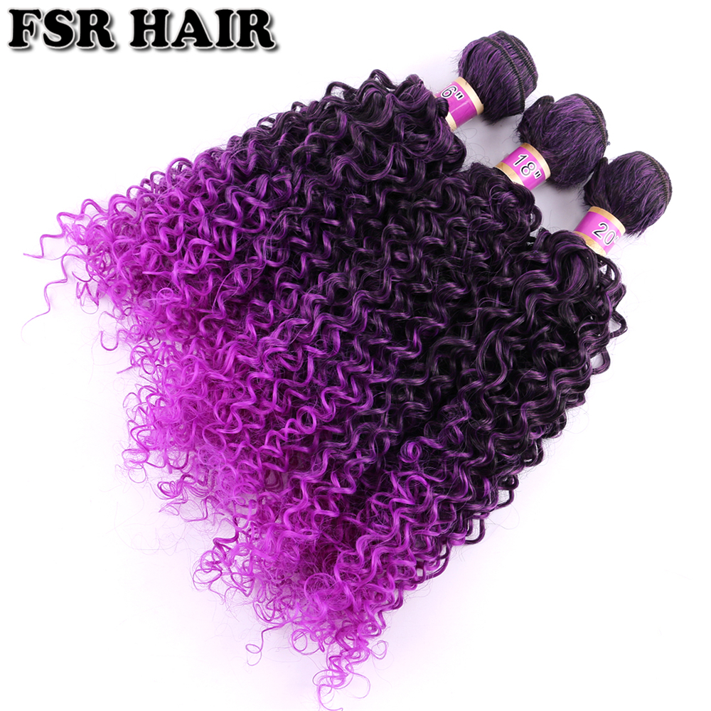 Cabelo Sintético 16-20 Polegada 3 Pçs lote Fibra De feixes de cabelo