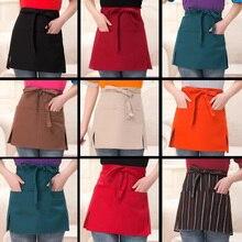 10 Style Universal Restaurant Apron Unisex Half Bust Bib Coffee Tea Shop Waitress Uniforms Waist Short Pockets