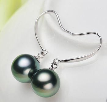 a pair of AAA 9-10mm tahitian peacock green pearl earrings 925 silver