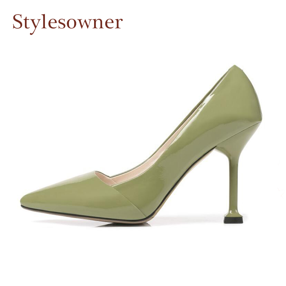 Stylesowner 2018 spring new thin high heel shoes women pumps pointed toe shallow genuine leather elegant ladies dress party shoe moonmeek new arrive spring summer female pumps high heels pointed toe thin heel shallow party wedding flock pumps women shoes