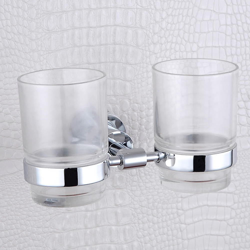 Double Tumbler Holders Wall Mounted Antique Elegant 304 Stainless Steel and Copper Bathroom Toothbrush Holder with Glass Cup black paint stainless steel bathroom toothbrush cup holder tumbler wall mounted