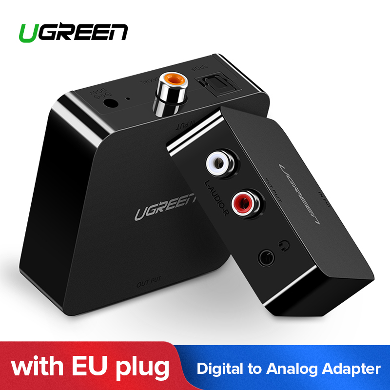 Ugreen Digital to Analog Audio Adapter Optical Toslink Coaxial to Analog R/L RCA Converter with 3.5mm Jack with EU Plug Adapter best price digital optical fiber coax coaxial toslink to signal converter adapter audio transverter rca l r with usb cable