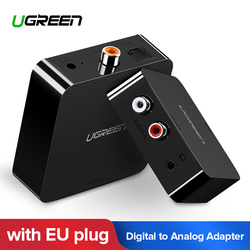 Ugreen Digital to Analog Audio Adapter Optical Toslink Coaxial to Analog R/L RCA Converter with 3.5mm Jack with EU Plug Adapter