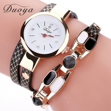 Duoya Brand Classic Women Quartz Watch Hot Sale Rhinestones Dress Leather Straps Bracelet Female Wristwatch Girl Casual Outdoor