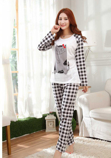 Hot Women's Fashion Sweet Womens Pajamas Animal Printing Indoor Clothing Home Suit Sleepwear Winter Long Sleeve Trousers Pajamas