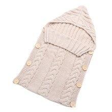 Newborn Baby Wrap Swaddle Blanket Kids Toddler Wool Knit Blanket Swaddle Baby Sleeping Bag Sack Stroller Wrap for 0-12 Months