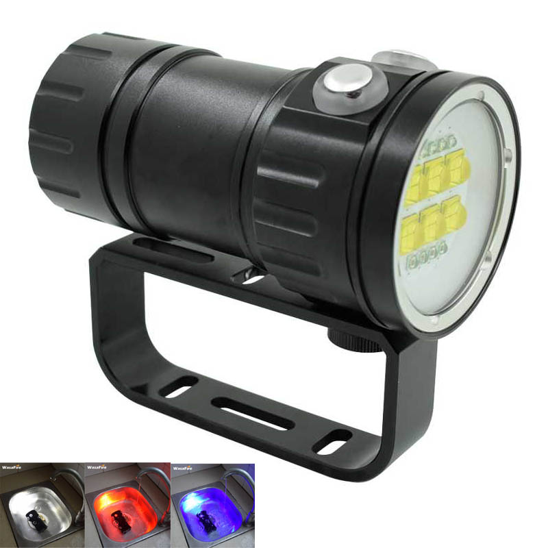 20000LM 6x 9090 LED White+4x Red+4x UV LED Fill Light Torch Underwater Photography Video Diving Flashlight Scuba Dive Photo Lamp new led diving torch underwater photography video flashlight white red uv light dive torch light lamp for diving 18650 battery