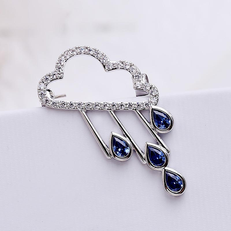 Red Trees Brand Men Brooch New Design Weather Cloud Shape Coat Brooches For Men And Women With Blue Stone Cubic Zirconia