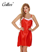 COLLEER Red Christmas Outfit Uniform Sexy Lingerie Set Sexy Babydolls Underwear Sleepwear Costumes