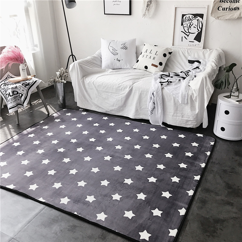 Fashion Lovely Stars Grey Soft Living Room Parlor Bedroom Bathroom Mat Door Foot Yoga Play Camp Pad Decorative Carpet Area Rug