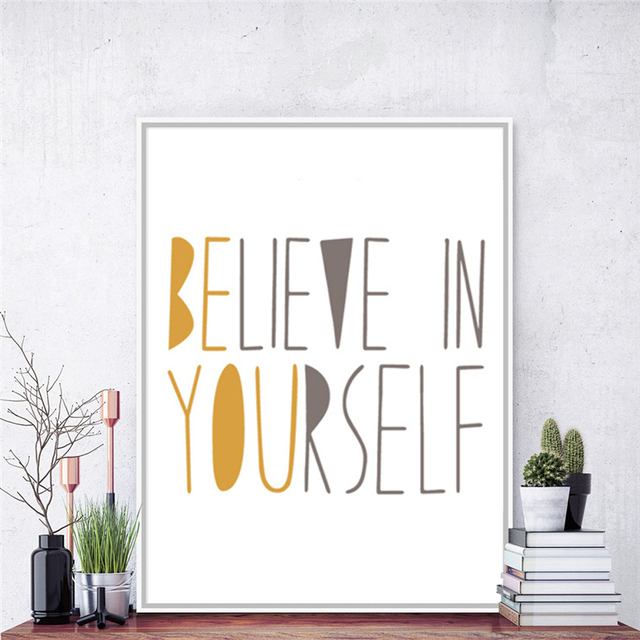 Believe In Yourself Nordic Ornaments Colorful Letters Canvas ...
