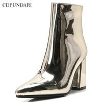 CDPUNDARI Sexy Pointed Toe Ankle boots for women High heels boots Ladies Winter shoes woman Gold Silver