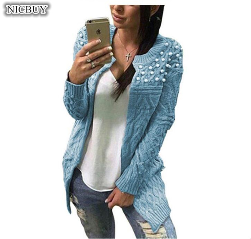 Women Knitted Sweater Cardigan Long Winter Autumn Sweater Coat Pearl Beading Long Sleeve Cardigan Winter Sweater