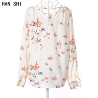 Europe New Spring Birds Dove Color V Collar All Match Shirt Long Sleeved Chiffon Size Stamp
