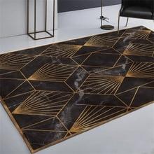 Imitation marble texture geometry rug Digital printing Crystal fleece Non-slip crawling mat Living room carpet bedroom floor