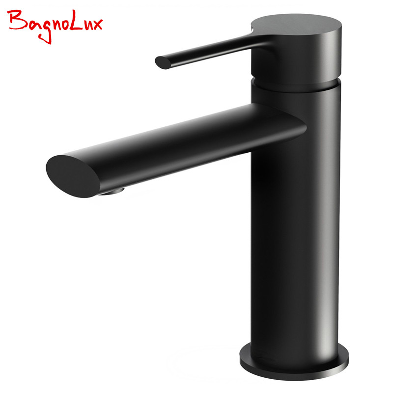 2017 Wholesale Bathroom Faucet Black Solid Brass Bathroom Solid Basin Crane Cold and Hot Water Mixer Single Handle Hole Tap orb black brass bathroom faucet basin tap 360 degree rotating single handle hot and cold water mixer taps crane antique jp115