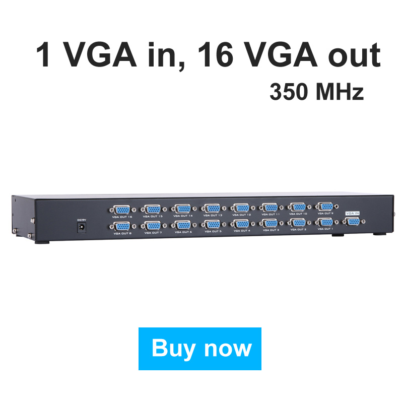 MT-VIKI VGA HUB 16 Port VGA Distributor Splitter 350MHz 1 in 16 out 1 Computer 16 Widescreen Monitors LCD Projectors mt viki dv4h 4 port dvi splitter distributor video sharing 1 input to 4 output multiple lcd monitor synch display mt dv4h