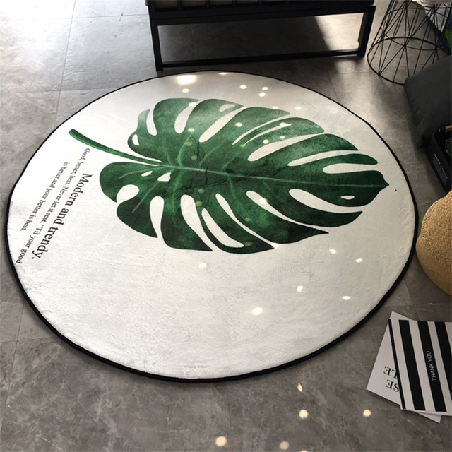 Fashion Green Large Banana Leaf Floor Foot Door Yoga Play Mat Parlor Living Room Bedroom Decorative Round Soft Carpet Area Rug