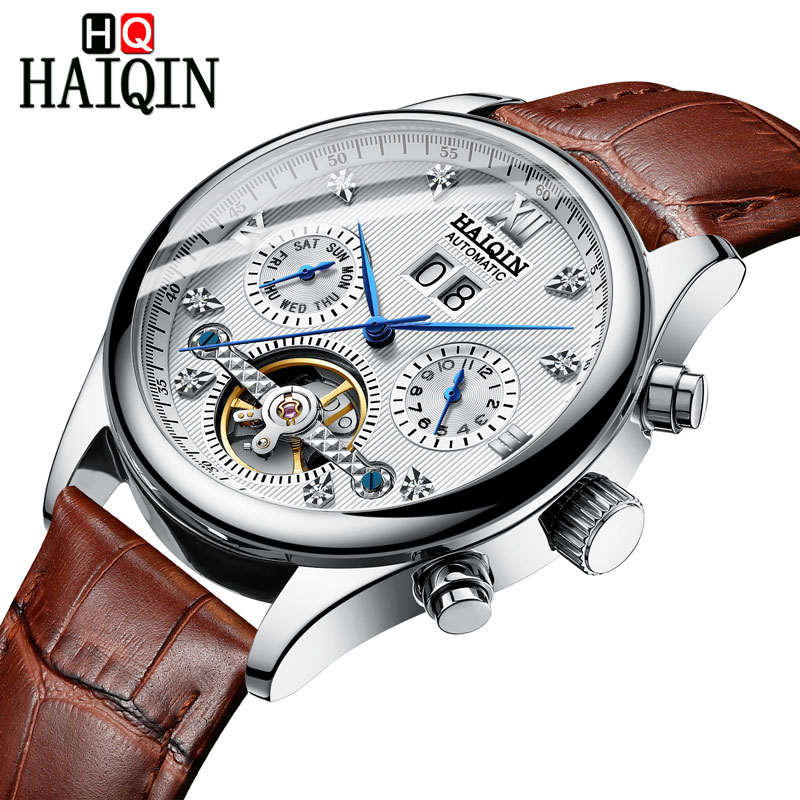 HAIQIN Men's watches Automatic mechanical Men Watches Business Watch men top brand luxury Military Waterproof Tourbillon Clock 13