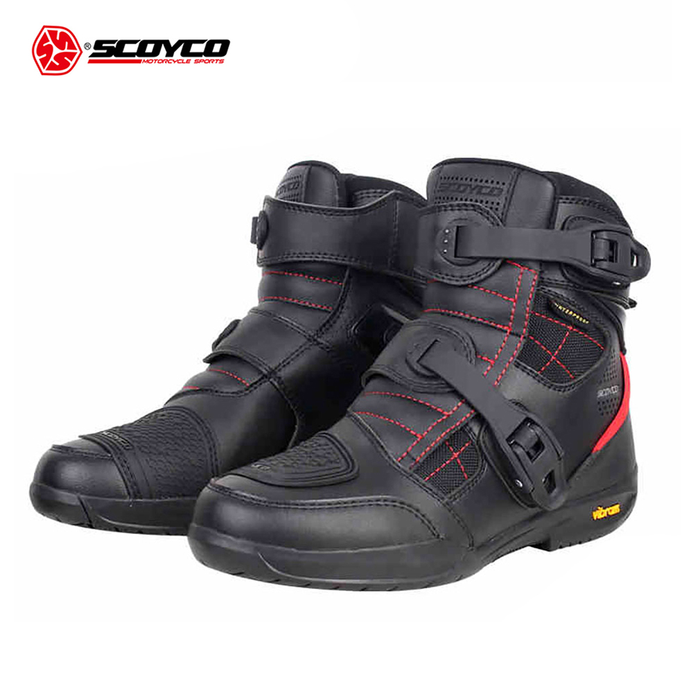 SCOYCO Motorcycle Boots Waterproof Moto Boots Men Microfiber Leather Motocross Off-Road Racing Motorbike Riding Shoes Black