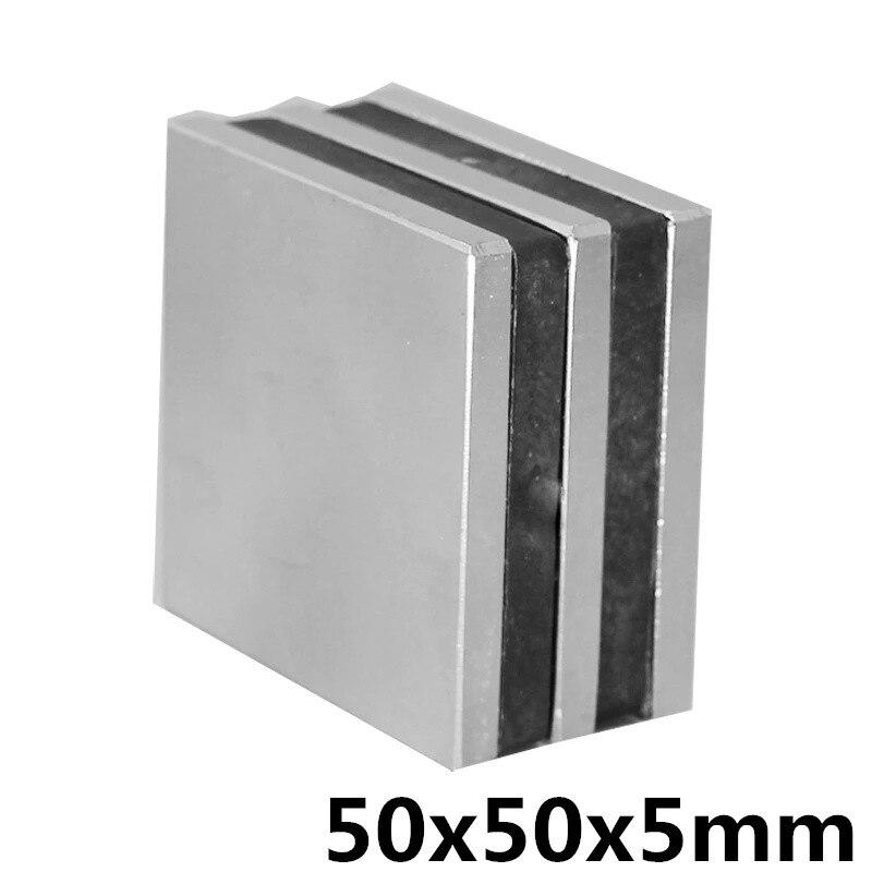 1 Pcs 50x50x5mm Neodymium Magneet Blok N35 Permanente Super Sterke Krachtige Kleine Magnetische Magneten Vierkante 50mm X 50mm X 5mm