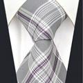 "Y1   Grey Checkes Brand New Fashion  Mens Necktie Tie 100% Silk handmade  Hanky Extra Long Size 63"" Ties for men"