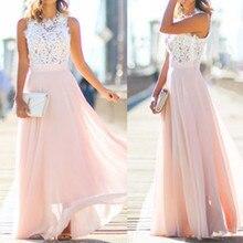 2019 summer new pink color stitching loose Dress women sleeveless mesh dress party women vestidos wholesale F3