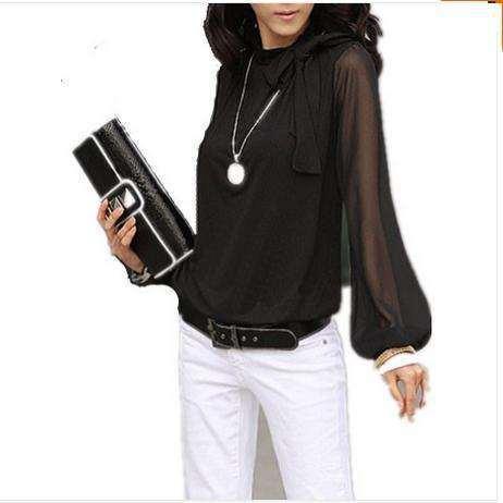 Restock!  Women Plus Size Patchwork Bowtie OL Chiffon Blouse Lantern Long Sleeves Blusas Top S-4XL For Big Women #1064