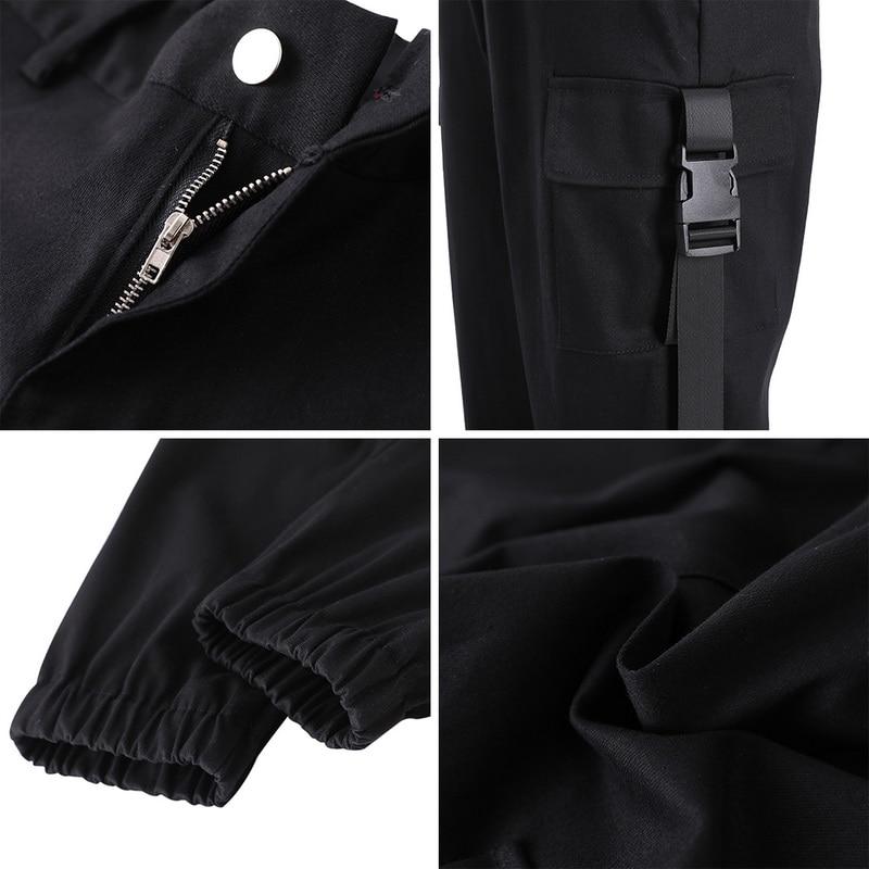 ADISPUTENT Streetwear Cargo Pants Women Casual Joggers Black High Waist Loose Female Trousers Korean Style Ladies Pants Capri 26