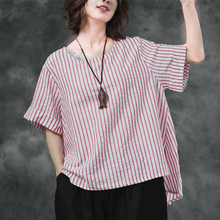 2019 Women Summer Striped Blouse Casual short Batwing Sleeve Shirt Loose Cotton Linen Work office Top Plus Size fashion kimono v neck batwing sleeve striped linen shirt