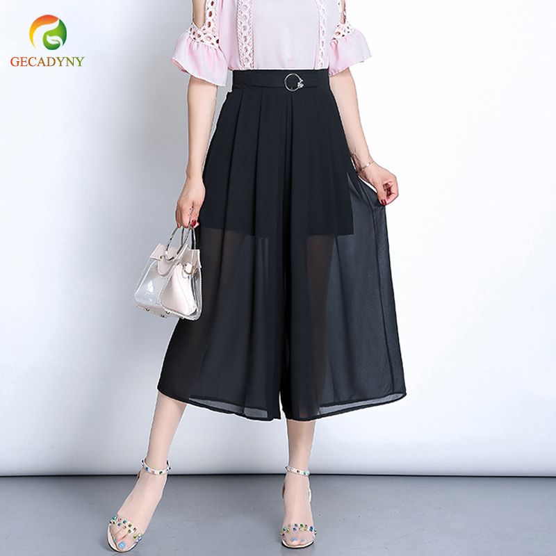 2019 Summer Chiffon Wide Leg   Pants     Capris   Women Causal Trousers Female Solid Elastic Waist Loose Pleated   Pants   Plus Size L-3XL